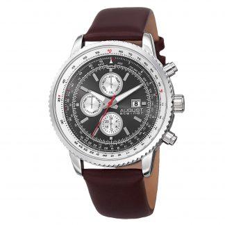 August Steiner Men's AS8189SSBR Silver Multifunction Quartz Watch