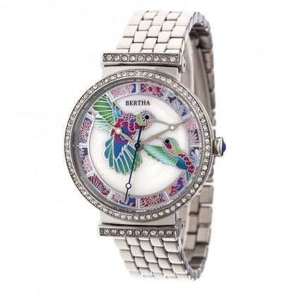 Bertha Emily MOP Bracelet Watch - Silver