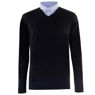 Pierre Cardin Mock V Neck Jumper L Navy Blue
