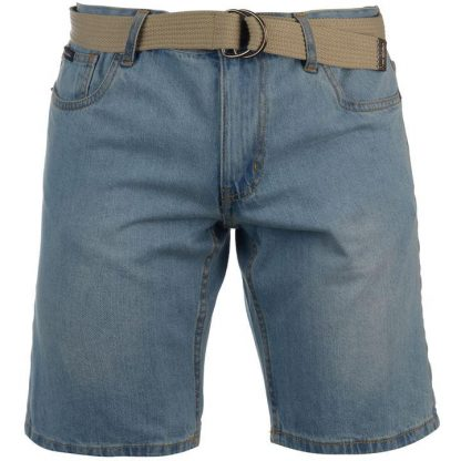 Pierre Cardin Denim Web Belt Shorts Mens L light wash