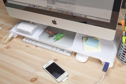 Metal Spacebar Monitor Stand with 6 Port USB - Silver