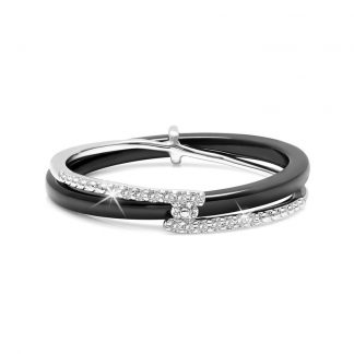 The Gemseller-Ceramic Ring made with Swarovski® Crystal black