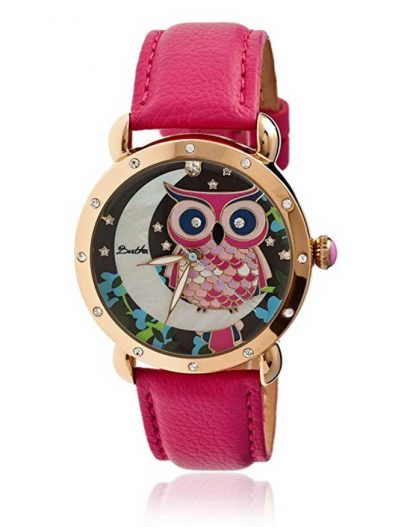 Ashley Gold-tone Steel Blue Leather Strap Multicolor Owl Dial Ladies Watch