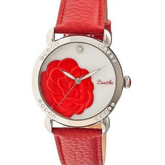 Women's Daphne Leather Flower Engraved Mother of Pearl Dial