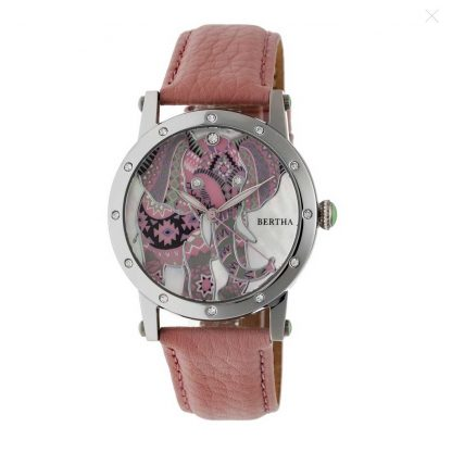 Bertha Betsy Mother of Pearl Elephant Dial Pink Leather Ladies Watch