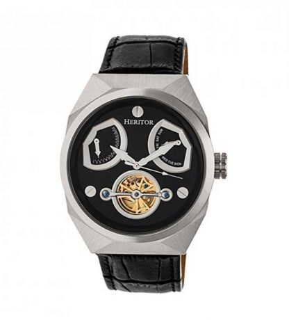 Heritor Automatic Men's 'Oxford Semi-Skeleton' Stainless Steel and Leather Watch, HERHR5502