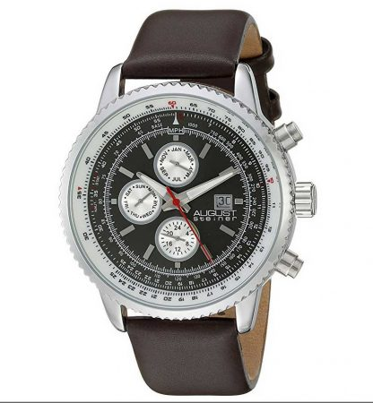 August Steiner Mens AS8189SSBR Silver Multifunction Quartz Watch