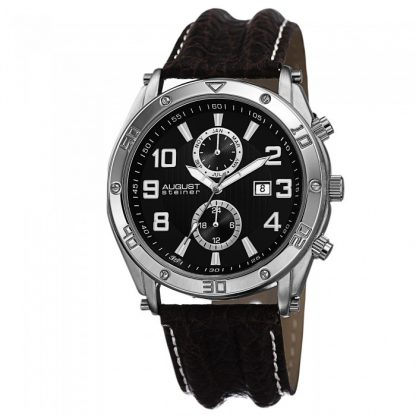 August Steiner Men's AS8117BK Swiss Quartz Multifunction Black Leather Strap Watch