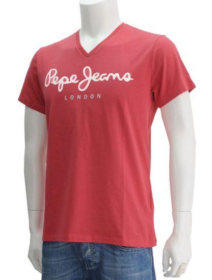 Soft colours Pepe Jeans Cardinal Red super stretch v-neck M