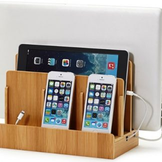 Handy bamboo organizer for smartphones, tablets, laptops and iPads