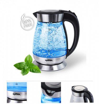 Grafner WK10583 glass kettle with LED lighting 2200W tea maker wireless stainless steel