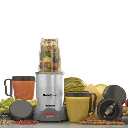 Cooks Professional Nutriblend 1000 Edition Premium Blender, Nutrition Extractor, 10 Piece Set, Free Recipe Book 1000 Watts. (Silver)